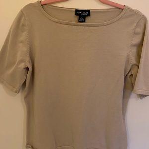 3/$25 Ann Taylor Beige part silk knit top Large